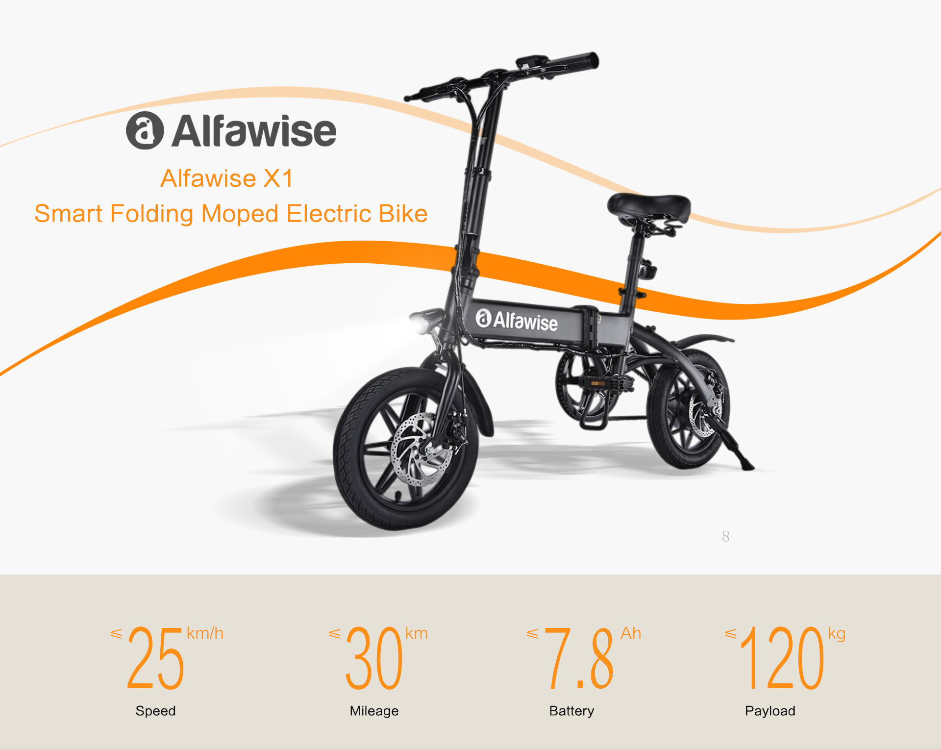 Alfawise X1 E-bike Folding Electric Bike Moped Bicycle- Black 7.8Ah Battery