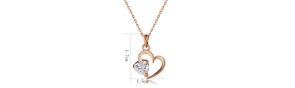 Plated Hollow Heart Shaped Crystal Pendant Necklace- Copper