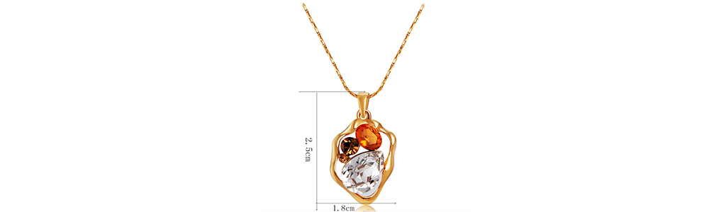 Gold-plated Hollowed Irregular Framed Inlaid Color Crystal Pendant Necklace- Gold