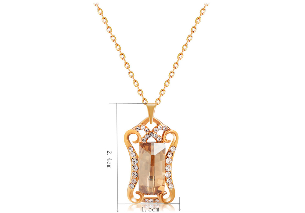 Gold Plated Zircon Cutout Lace Panel Inlay Crystal Pendant Necklace- Goldenrod