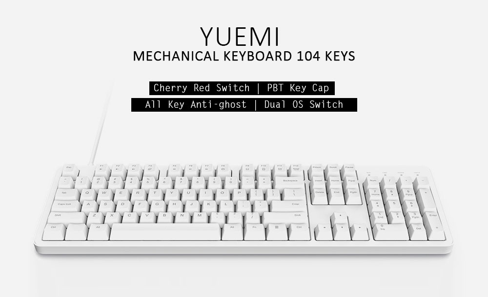 Yuemi MK06C Mechanical Keyboard 104 Key Cherry Red Switch ( Xiaomi Ecosysterm Product )- White Cherry Red Switch