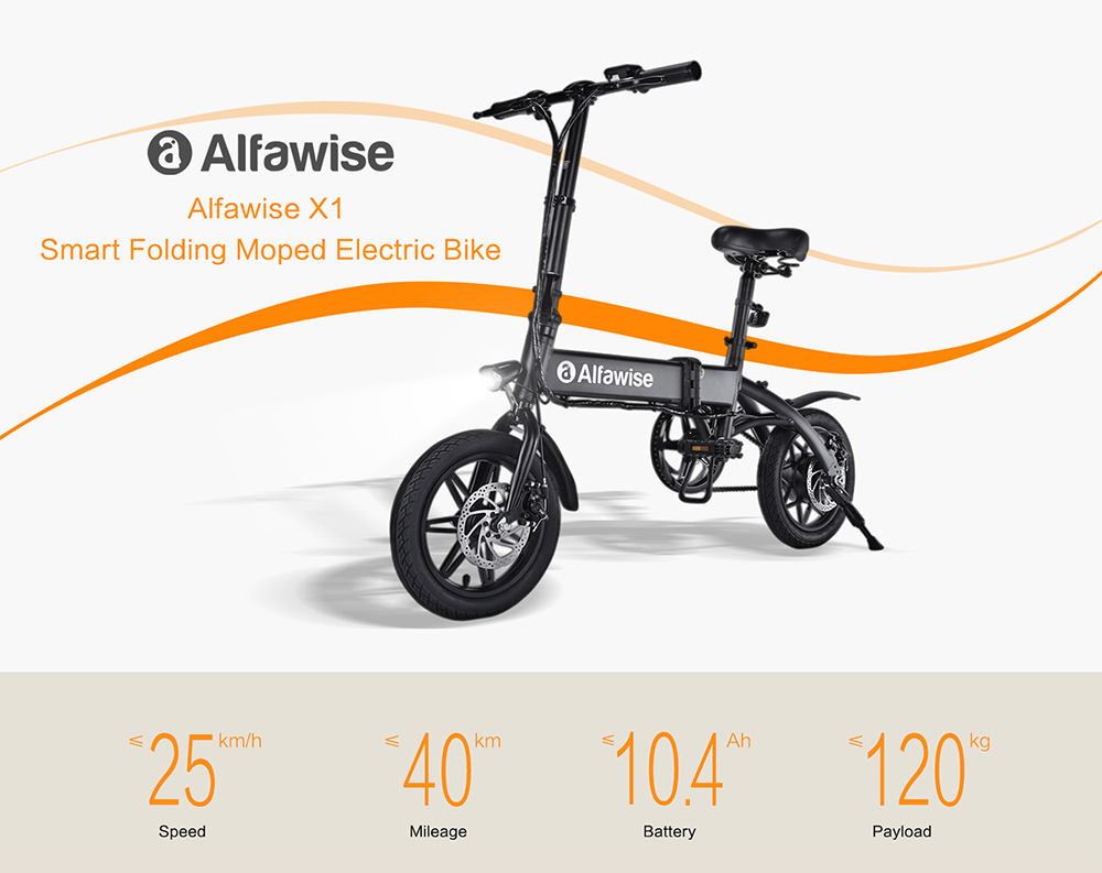 Alfawise X1 E-bike Folding Electric Bike Moped Bicycle- Black 10.4Ah Battery
