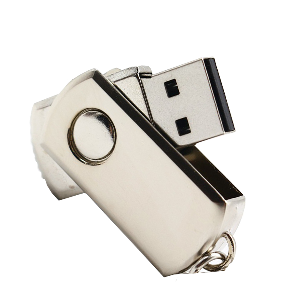 Rotation Key Chain USB 2.0 Flash Drive- White 16GB