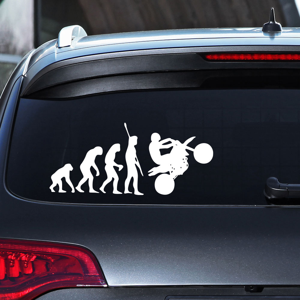Evolutionary characters creative characters funny car decal stickers removable white 8 519 2cm