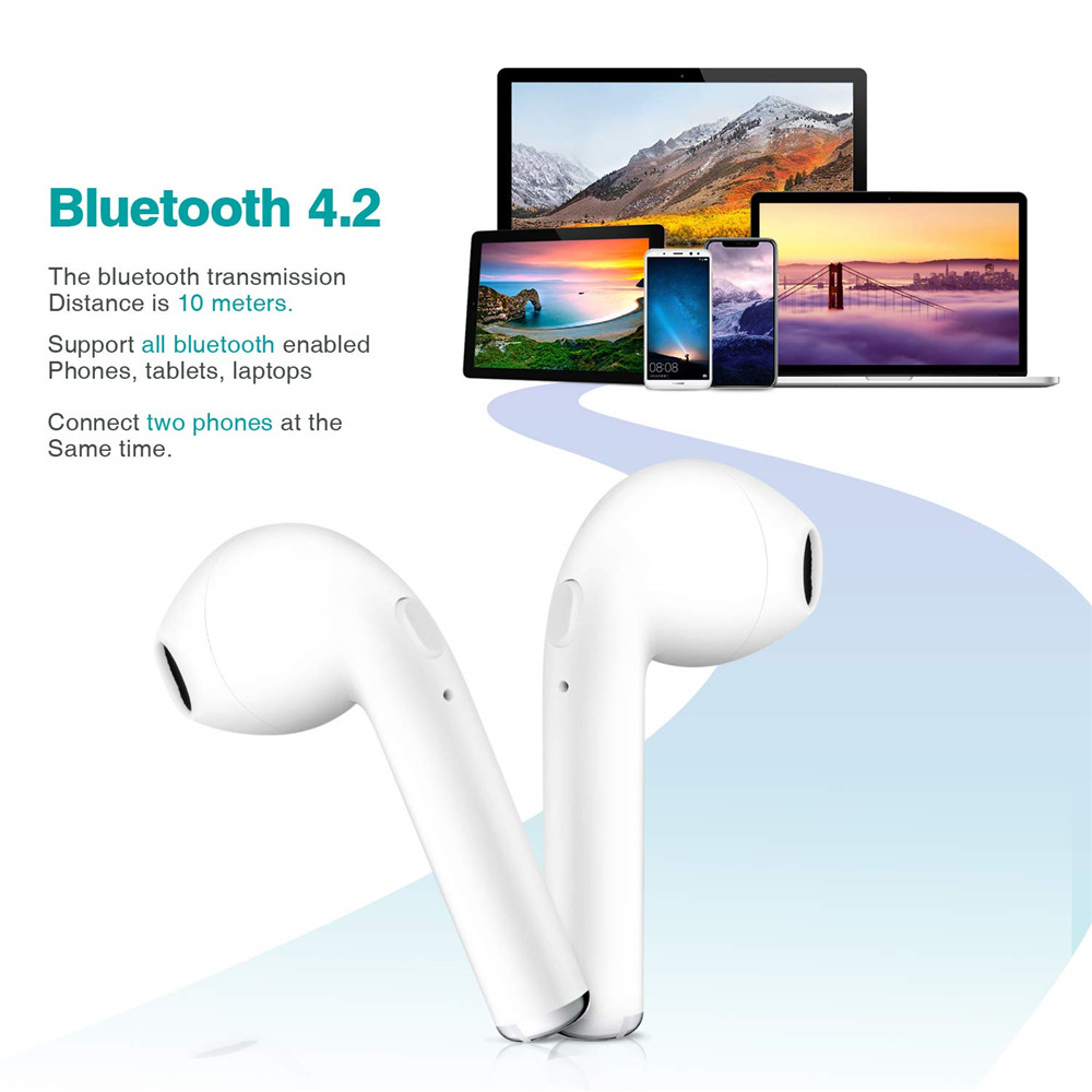 I7S TWS Smart Bluetooth Wireless Mini Earphone  Earbuds with Charger Dock- Black