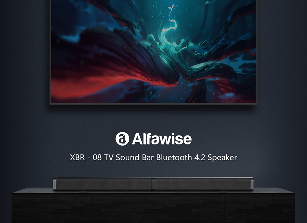 Alfawise XBR - 08 Sound Bars for TV Bluetooth 4.2 Speakers- Black