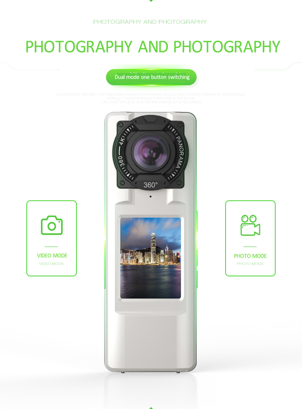 360-degree HD 4K Quality Dual Camera SC - CA08 Panoramic Motion Camera