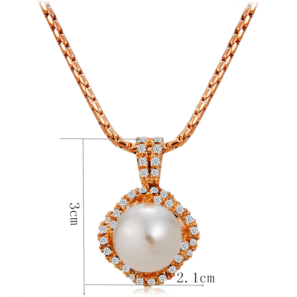 Plated Rose Gold Surrounded By Zircon Inlaid Pearl Pendant Necklace- Rose Gold