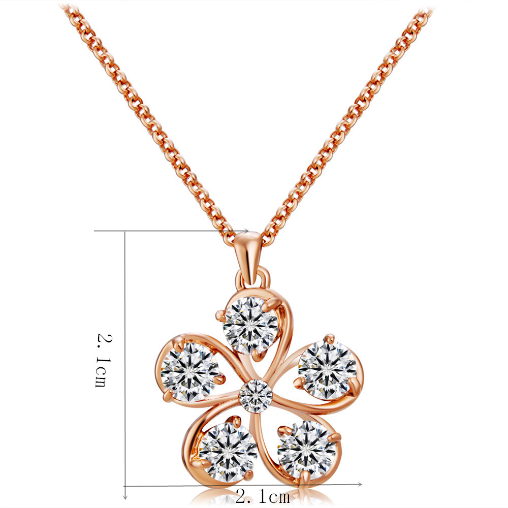 Rose Gold-plated Openwork Flower Crystal Pendant Necklace- Rose Gold