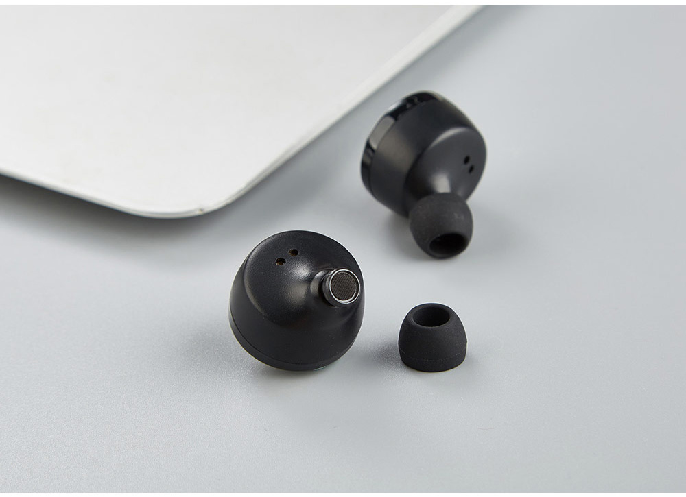 A6 TWS Wireless Bluetooth Stereo Binaural Earphones Mini In-ear Earbuds with Mic and Charging Dock - Black
