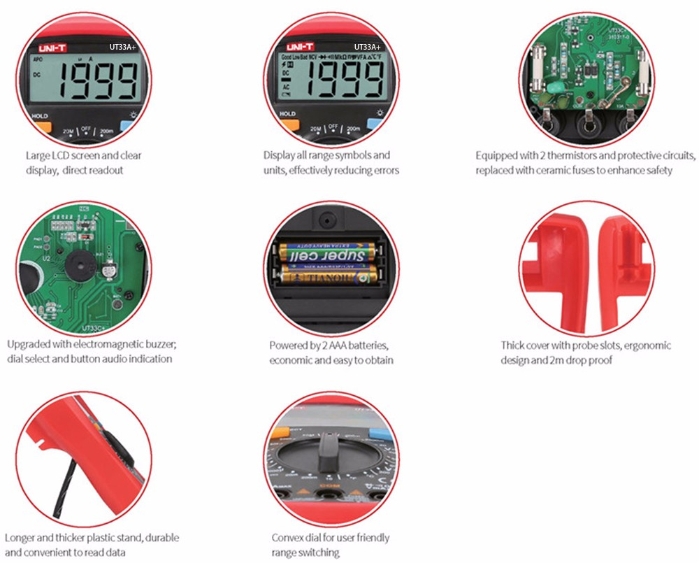 Uni T Ut33a Plus Digital Multimeter 2680 Free Shipping Pic16f88 Tachometer Circuit Led And Display Indicator Ac Dc Voltage Current Resistance Capacitance Tester With Backlight