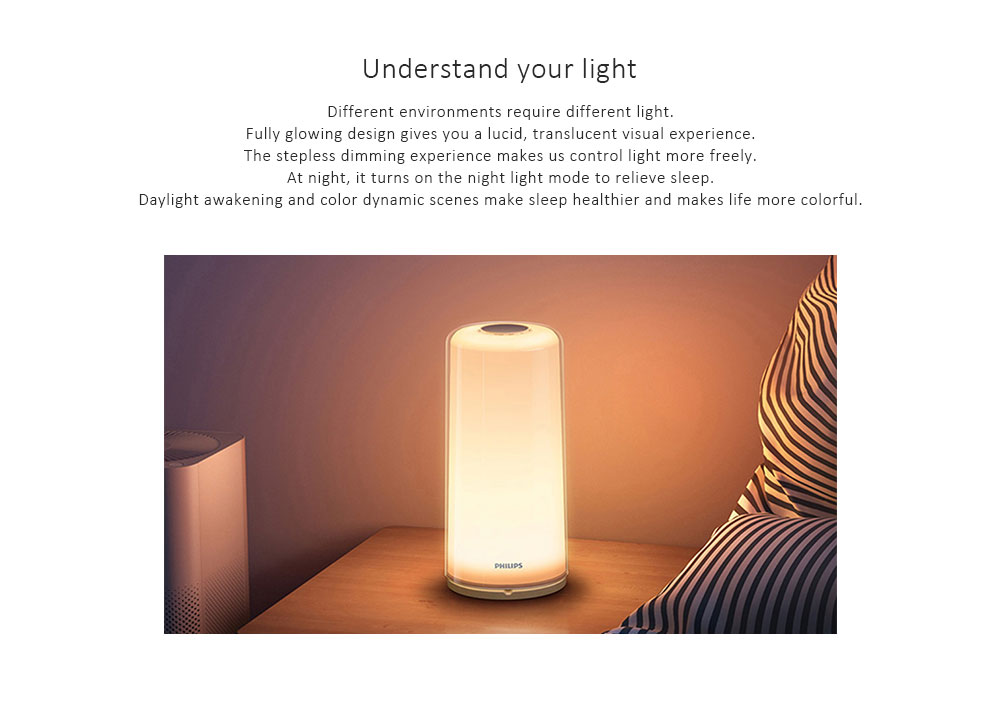PHILIPS Zhirui 9290019202 Bedside Lamp Stepless Dimming Smart Night Light 100 - 240V- White