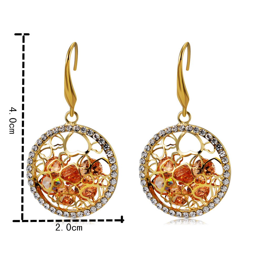 Gold-plated Hollow Zircon with Orange Crystal Earrings- Gold
