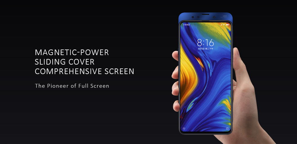 Xiaomi Mi Mix 3 4G Phablet 6.39 inch MIUI10 ( Android 9 ) Snapdragon 845 Octa Core 2.8GHz 6GB RAM 128GB ROM 24.0MP + 2.0MP AI Dual Rear Camera Fingerprint Sensor 3200mAh Built-in- Black