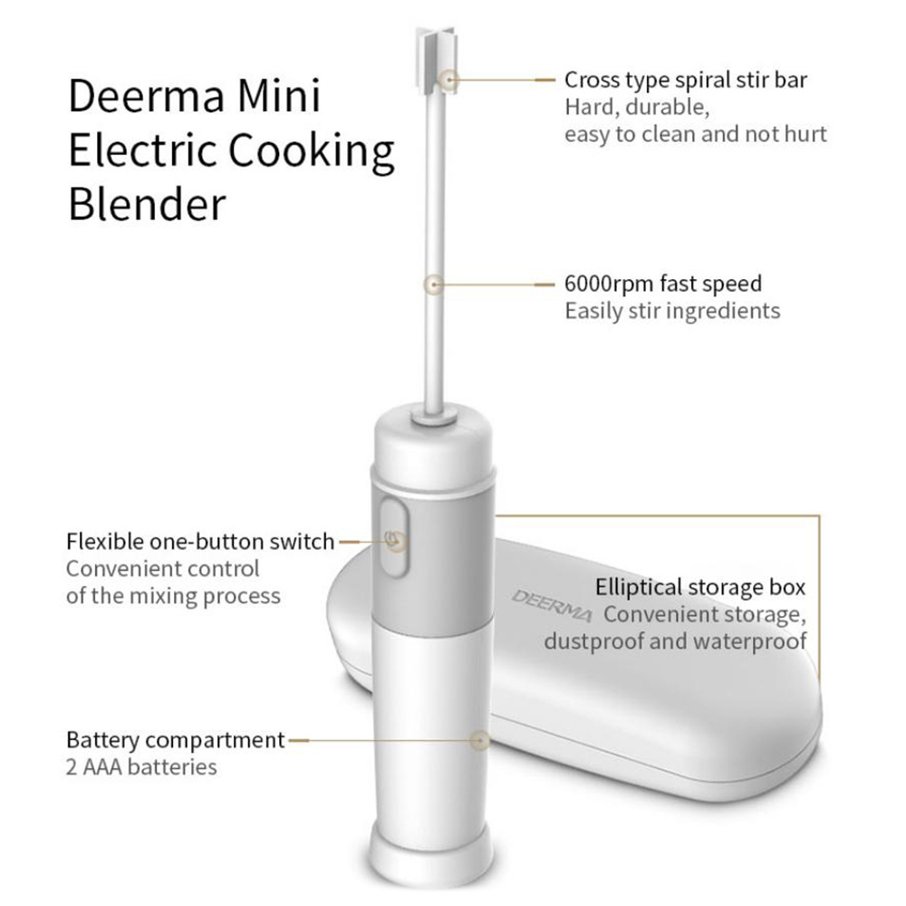 Mini Handle Stirrer Coffee Electric Blender from Xiaomi- Crystal Cream