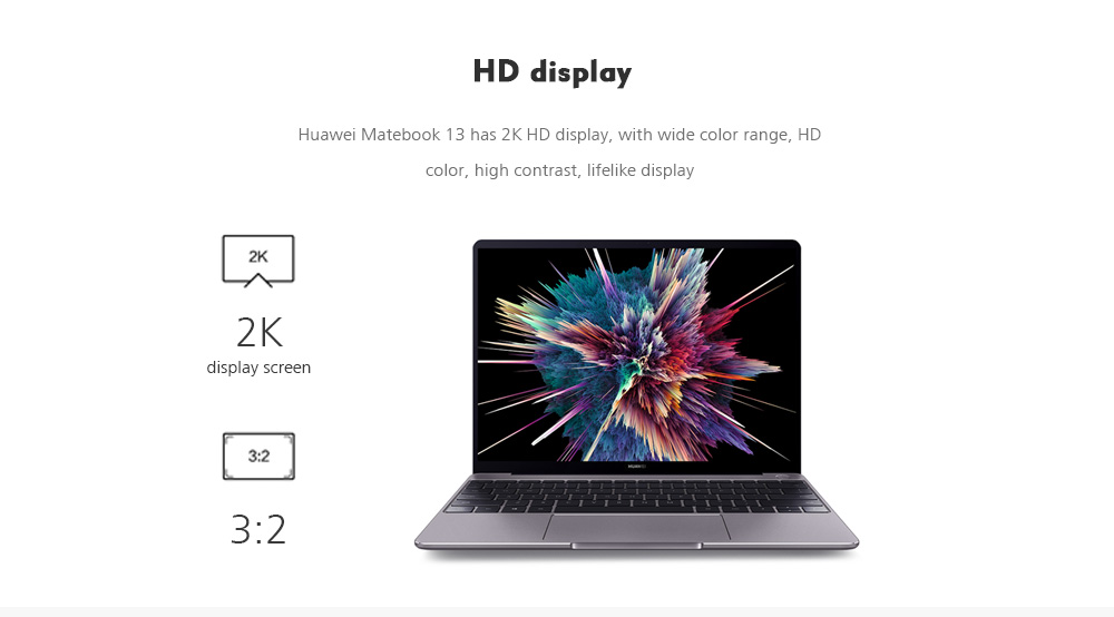 HUAWEI WRT - W19B MateBook 13.0 inch Windows 10 Home Version Intel Core i5-8265U Quad Core 1.6GHz 8GB RAM 256GB SSD Fingerprint Sensor 3670mAh Built-in- Silver I5/8GB/256GB