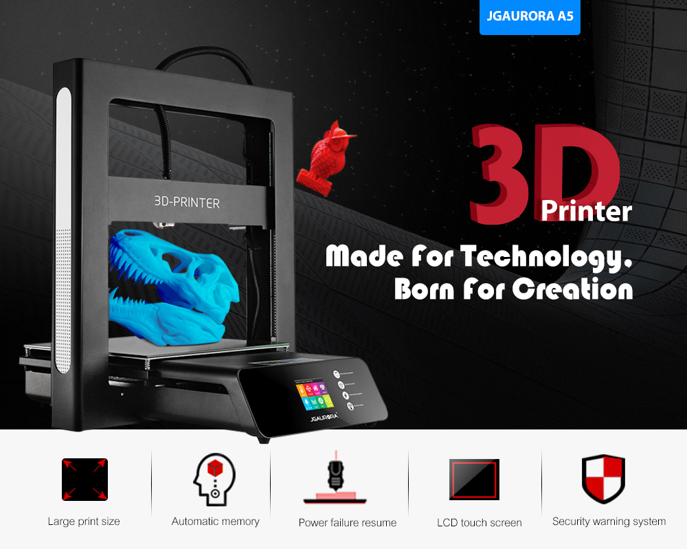Jgaurora A5 Color Touch Screen Large Print Size 3d Printer 28999 Led Wiring Kit With Relay And Switch Black Diamond Xtreme Updated Printing Area Eu Plug