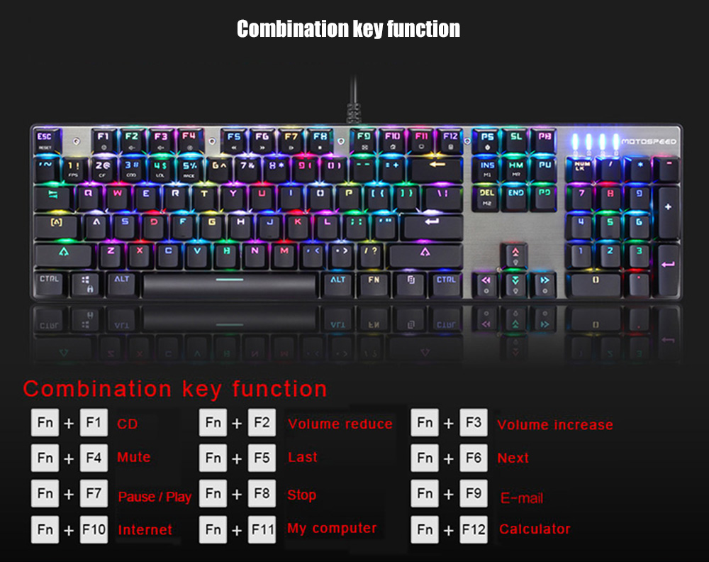 Motospeed CK888 NKRO RGB Backlight Mechanical Keyboard + Mouse Combination- Silver