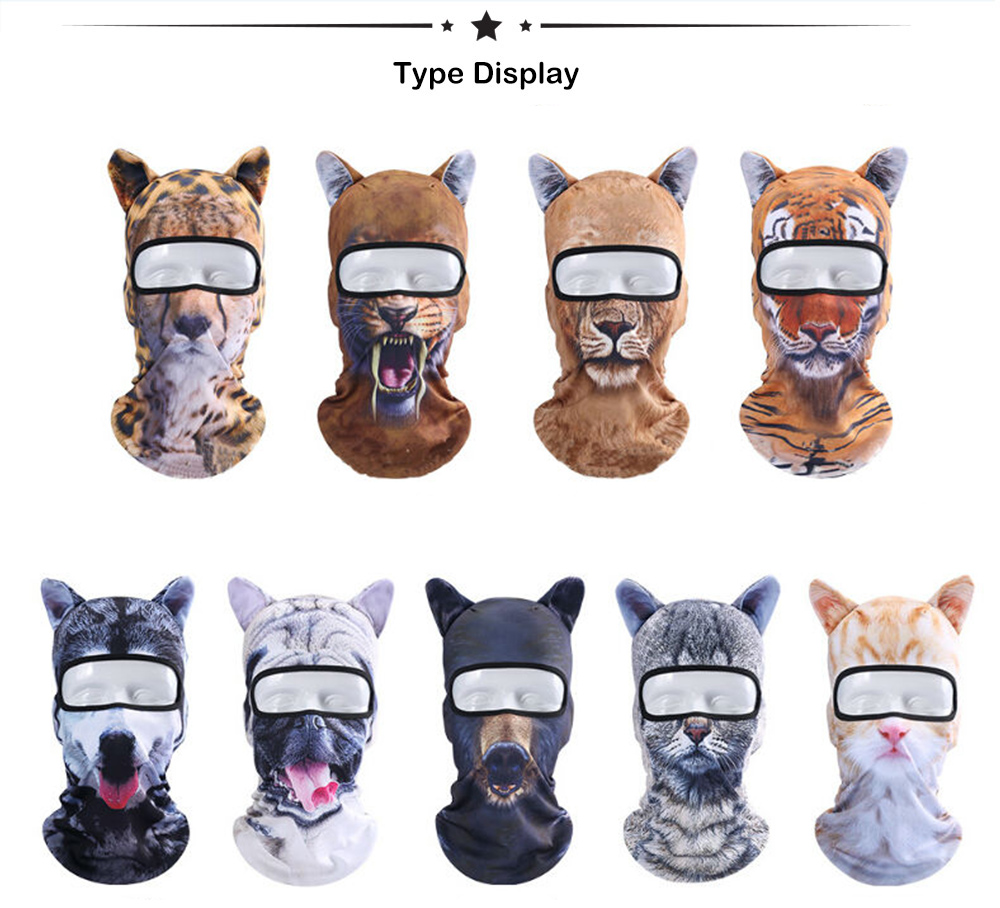 3D Animal Headgear Cycling Bicycle Skiing Full Face Mask- Multi-I