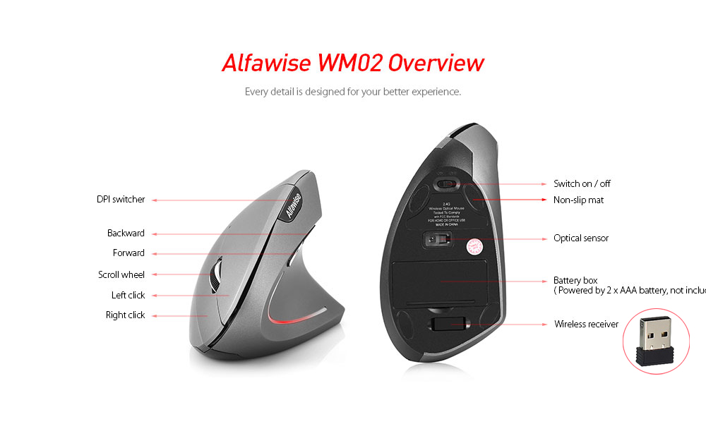 Alfawise WM02 Ergonomic Vertical Design Wireless 2.4GHz Mouse- Black
