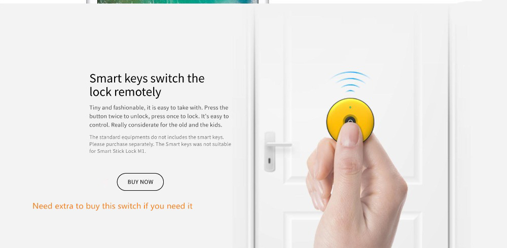 Xiaomi Mijia M1 Intelligent Stick Lock Non-dismantling Smart Doorlock Keyless Fingerprint Unlock- Black left opening