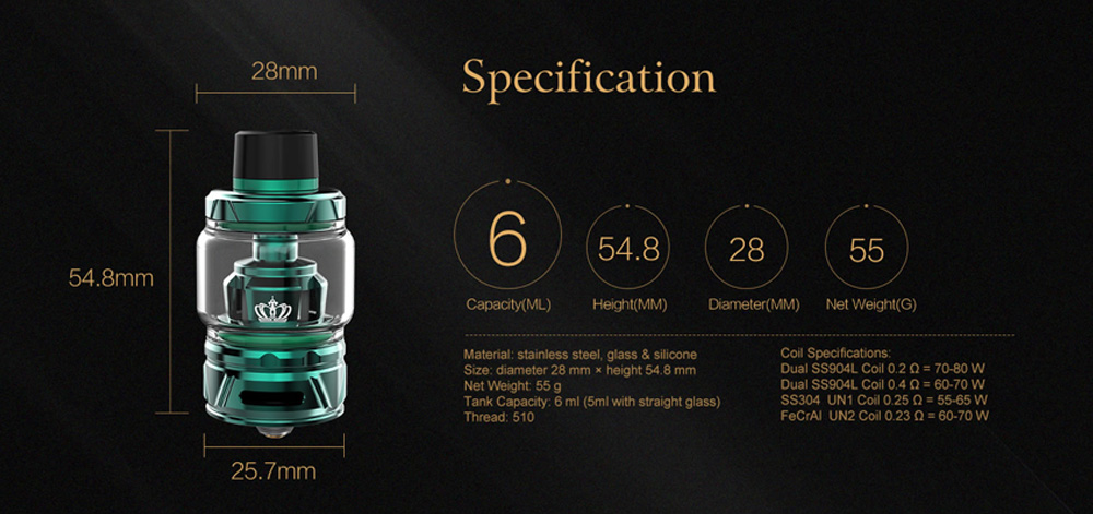 Uwell Crown 4 IV Tank Atomizer 6ml- Black