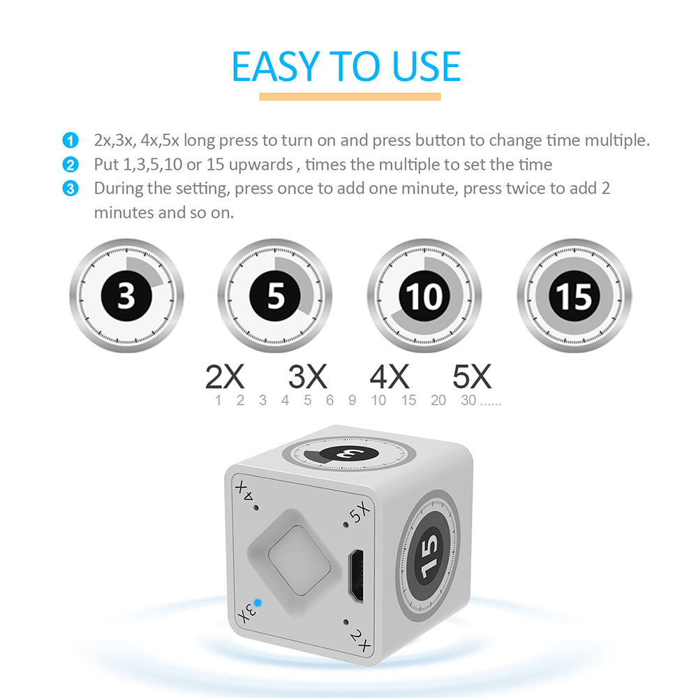 iLepo Cube Timer with Gyroscope Sensor Chip for kids Kitchen cooking  meetings