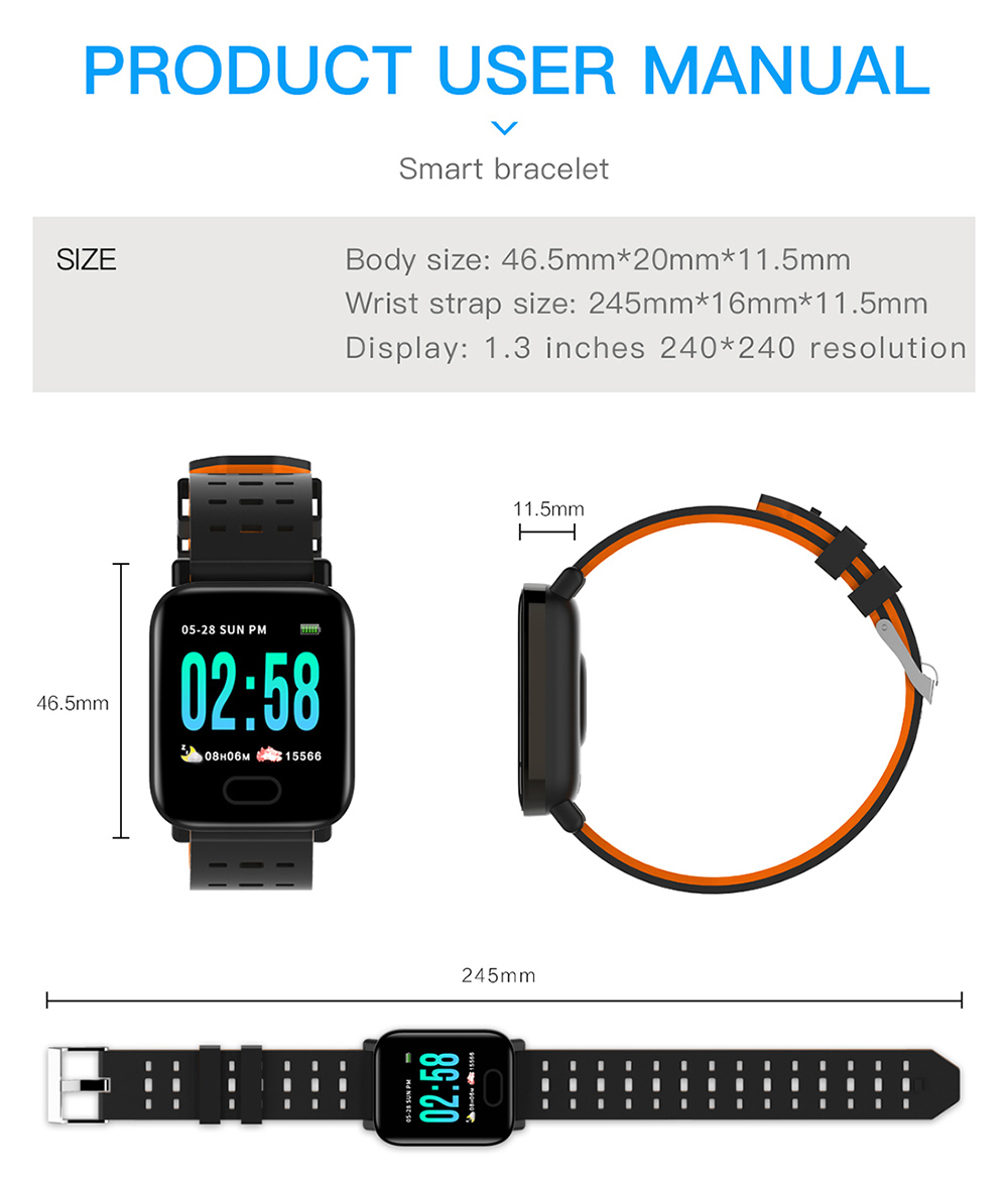 M20 1.3 inch Sports Smart Bluetooth Watch Real Time Blood Pressure Monitor Fitness Tracker Bracelet- Dodger Blue