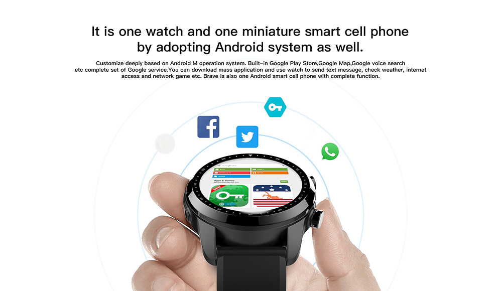 Kospet Brave 4G Smartwatch Phone 1.3 inch Android 6.0 MTK6737 1.2GHz 2GB RAM 16GB ROM IP68 Waterproof 620mAh - Black