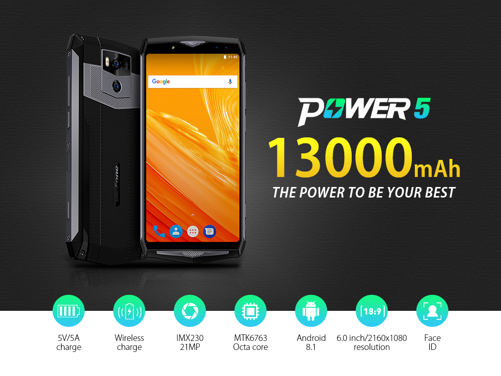 uk availability 7d73f 4af00 Ulefone Power 5 4G 6.0 Inch Phablet 13000mAh Battery