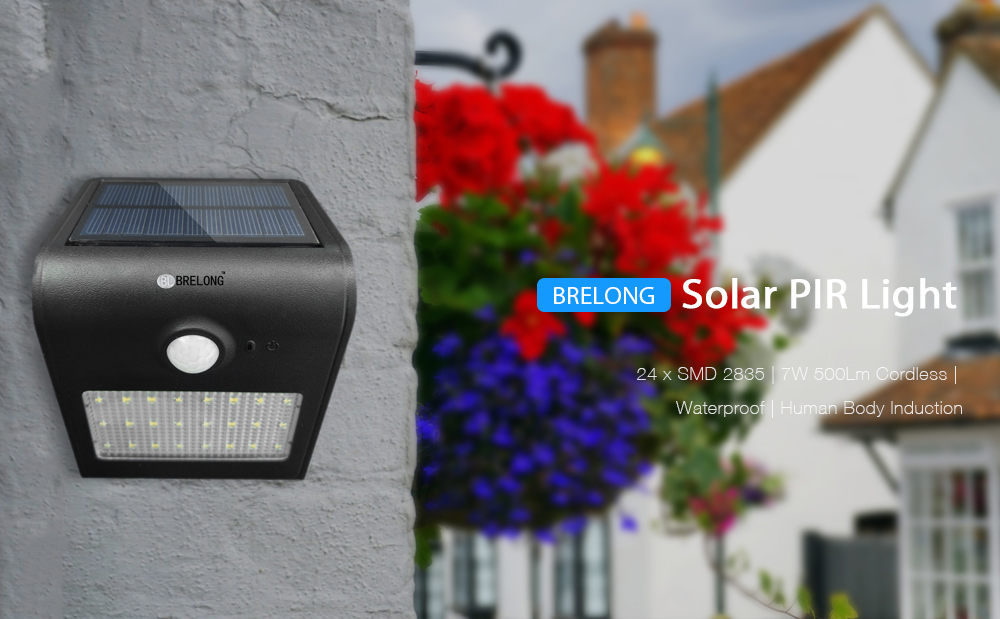 Brelong solar pir light 24 x smd 2835 7w 500lm cordless waterproof