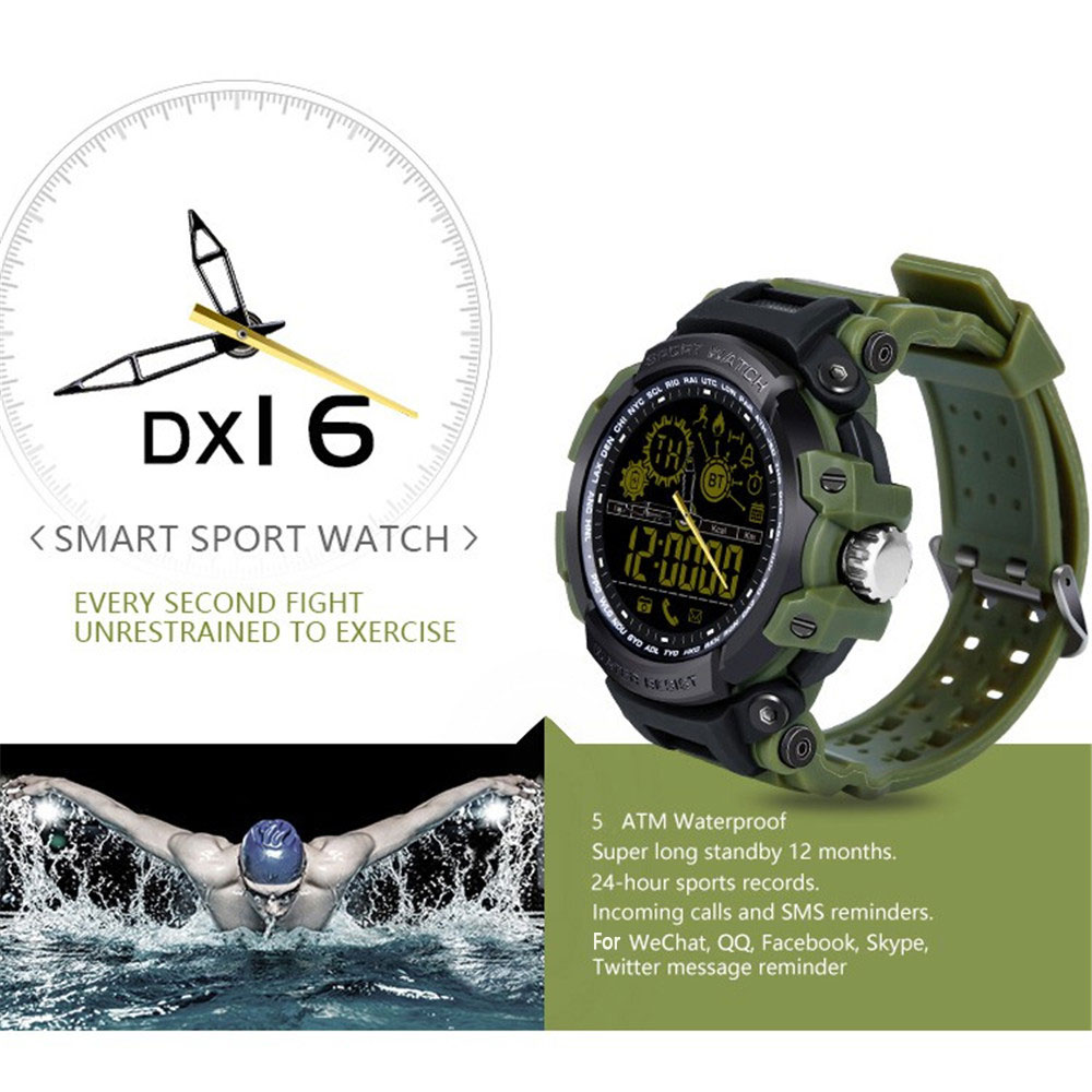 DX16 Bluetooth Smart Watch Pedometer Sleep Monitor Sports Fitness Watch- Black 1pc