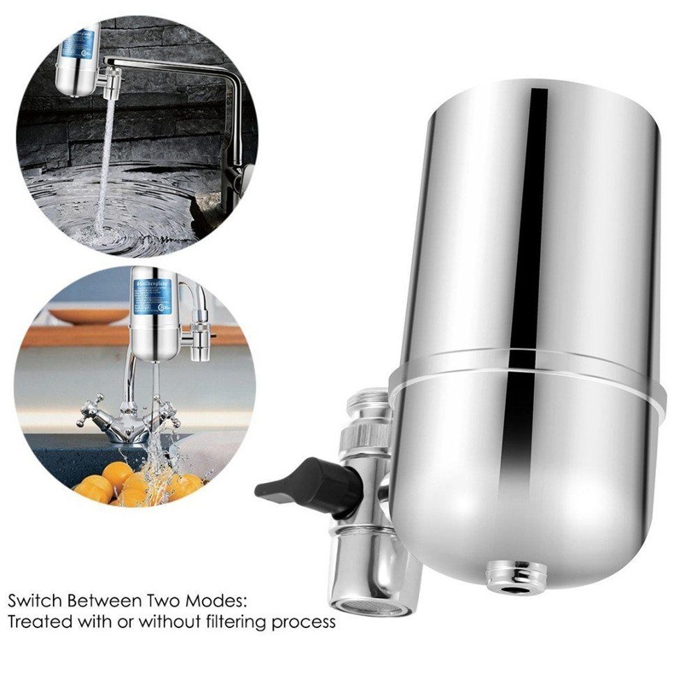 Water Filter For Kitchen Sink Or Bathroom Faucet Mount Filtration Tap Purifier- Silver