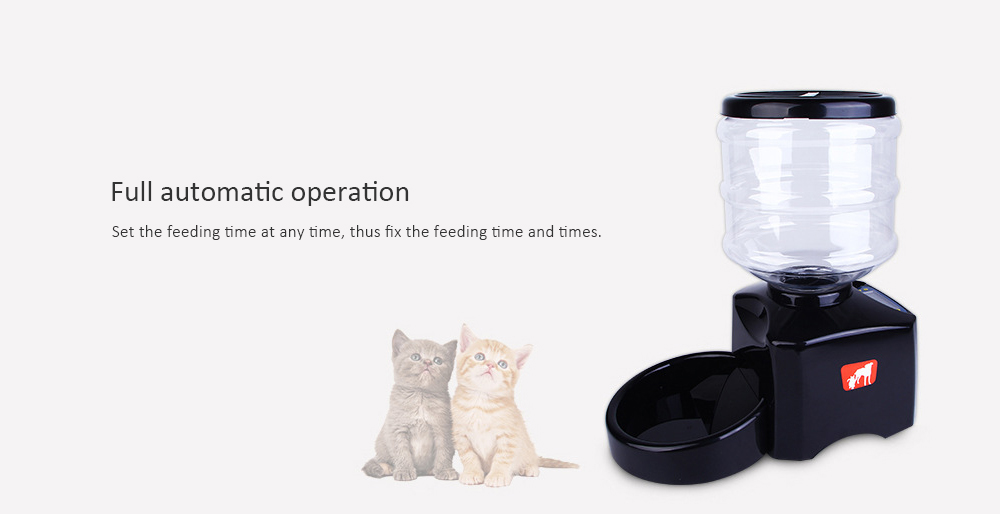 5.5 Liter Recordable Cat And Dog Three Meals Timed Quantitative Feeder - Black