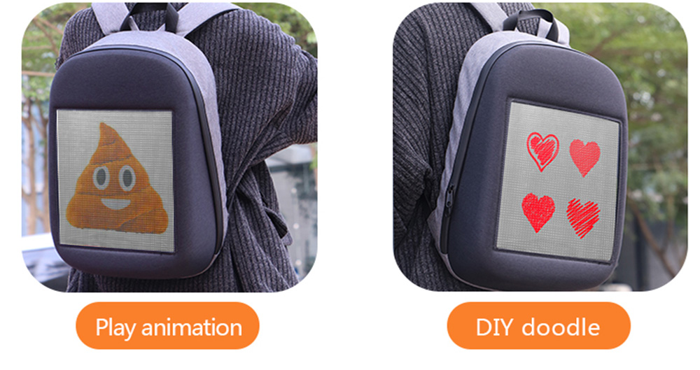 Fashion WIFI Version Smart Led Dynamic Backpack- Gray