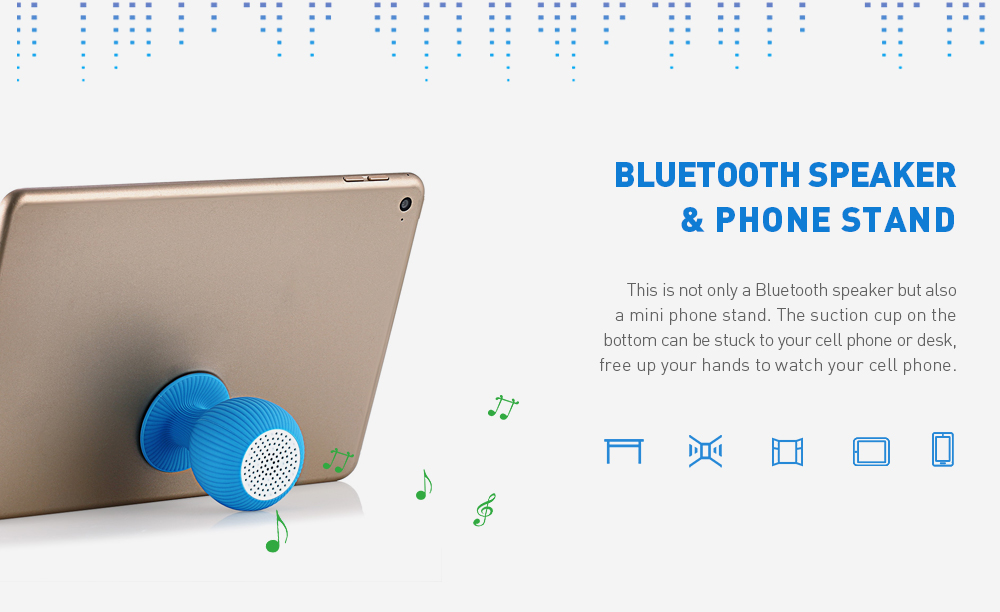 Alfawise Creative Sucker Design Mini Bluetooth Speaker - Deep Sky Blue