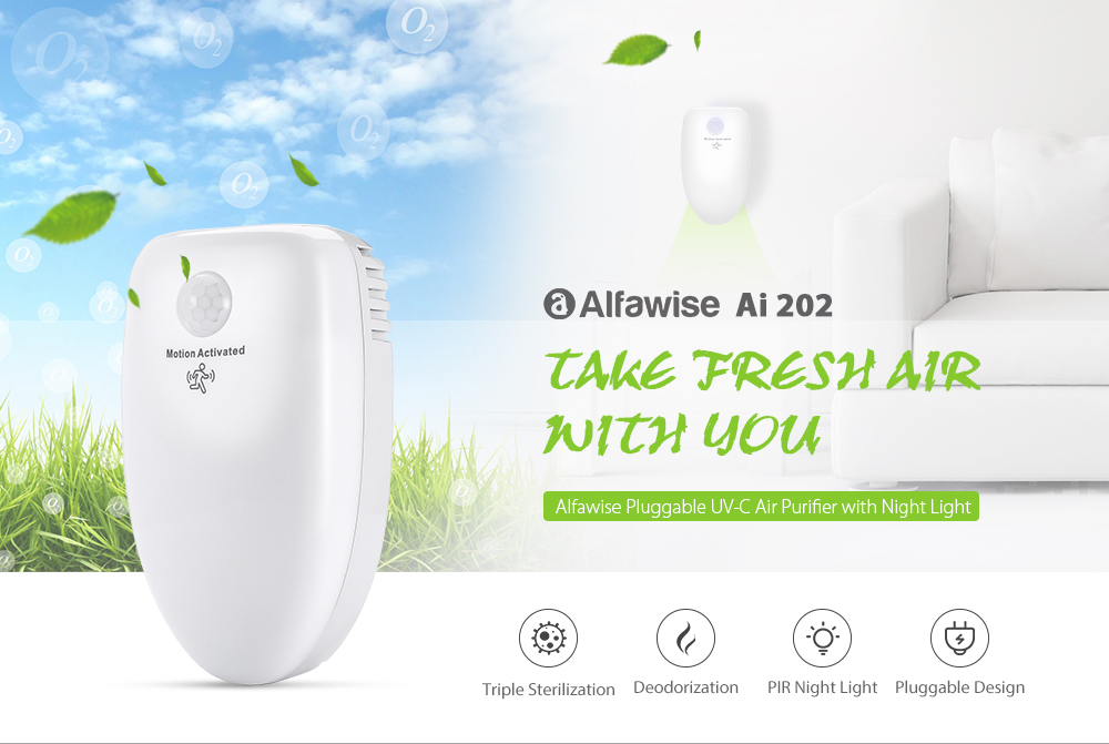Alfawise Ai 202 Pluggable Air Purifier UV-C Deodorizer Sterilizer- White