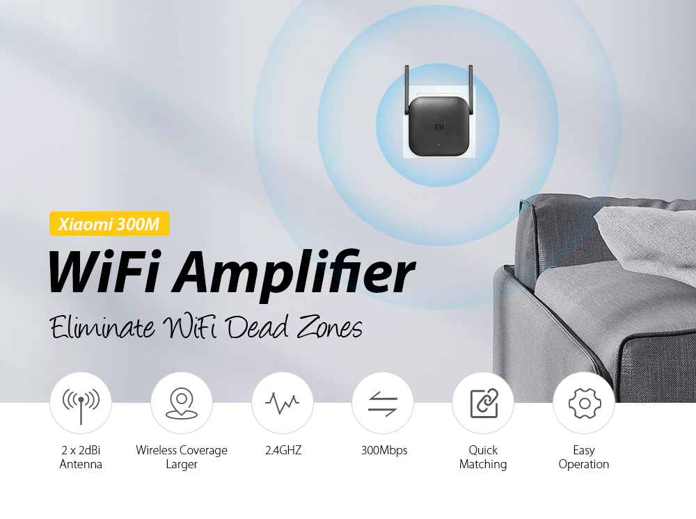 Xiaomi Pro 300M 2 4GHZ WiFi Amplifier with 2 Antenna
