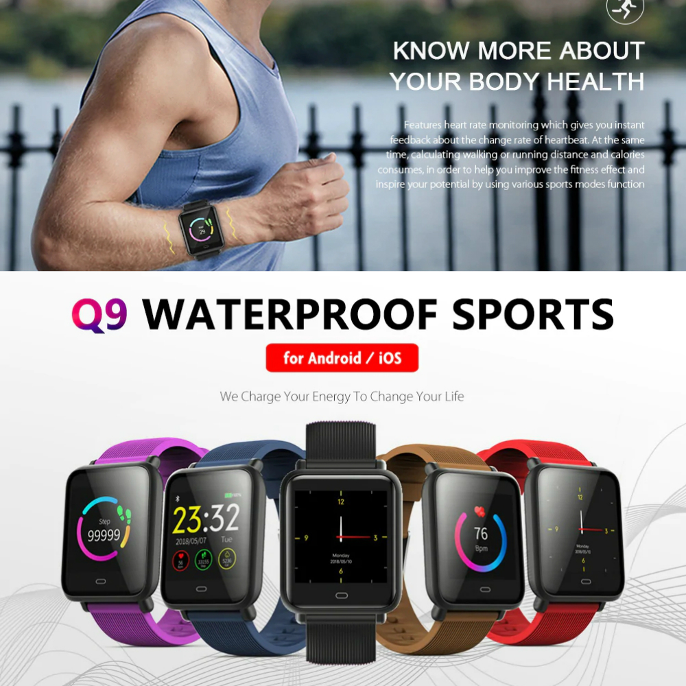 LEMFO Q9 Waterproof Sports Smart Watch for Android / iOS- Multi-D