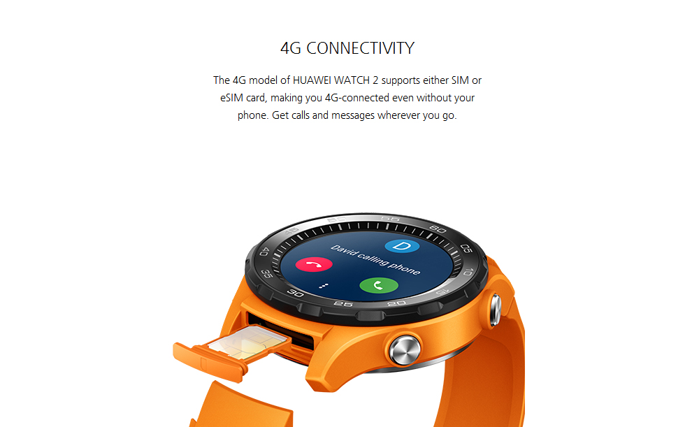 HUAWEI WATCH 2 4G Smartwatch Phone 1.2 inch Android Wear 2.0 Snapdragon 2100 Quad Core 768MB RAM 4GB ROM IP68 Water-proof 420mAh Built-in Sedentary Reminder- Sandy Brown