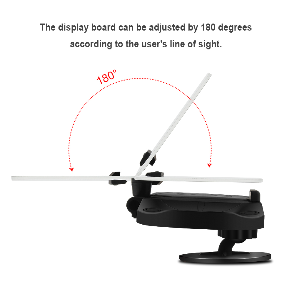 HUD Head Up Display Qi 10W Wireless Fast Charging Car Phone GPS Navigation Image Reflector  - Black With base