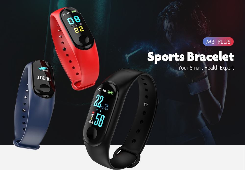 M3PLUS 0.96 inches Smart Bracelet Bluetooth 4.0 Heart Rate Monitoring Blood Pressure Functions- Black