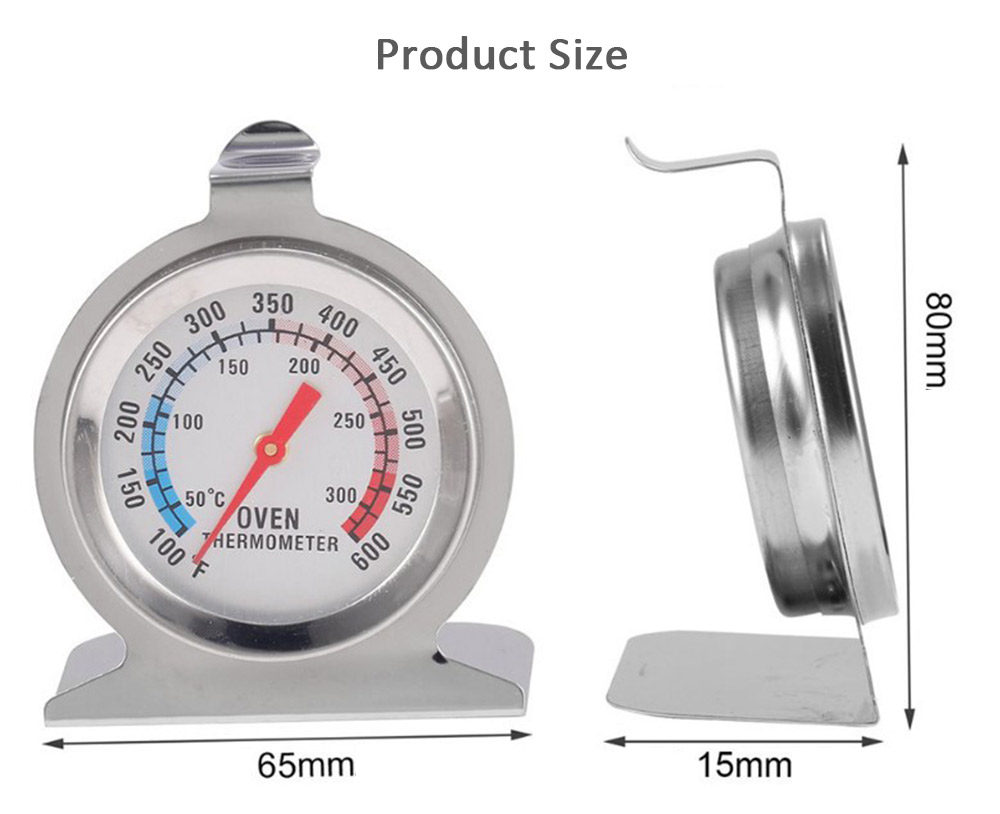Double Scale Oven Thermometer- Silver 1Pc