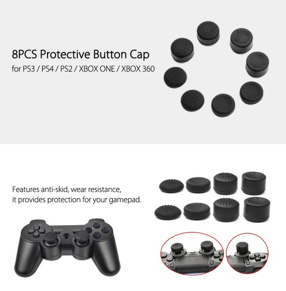 8PCS Silicone Protective Button Cap for PS3 / PS4 / XBOX ONE / XBOX 360 /  PS2
