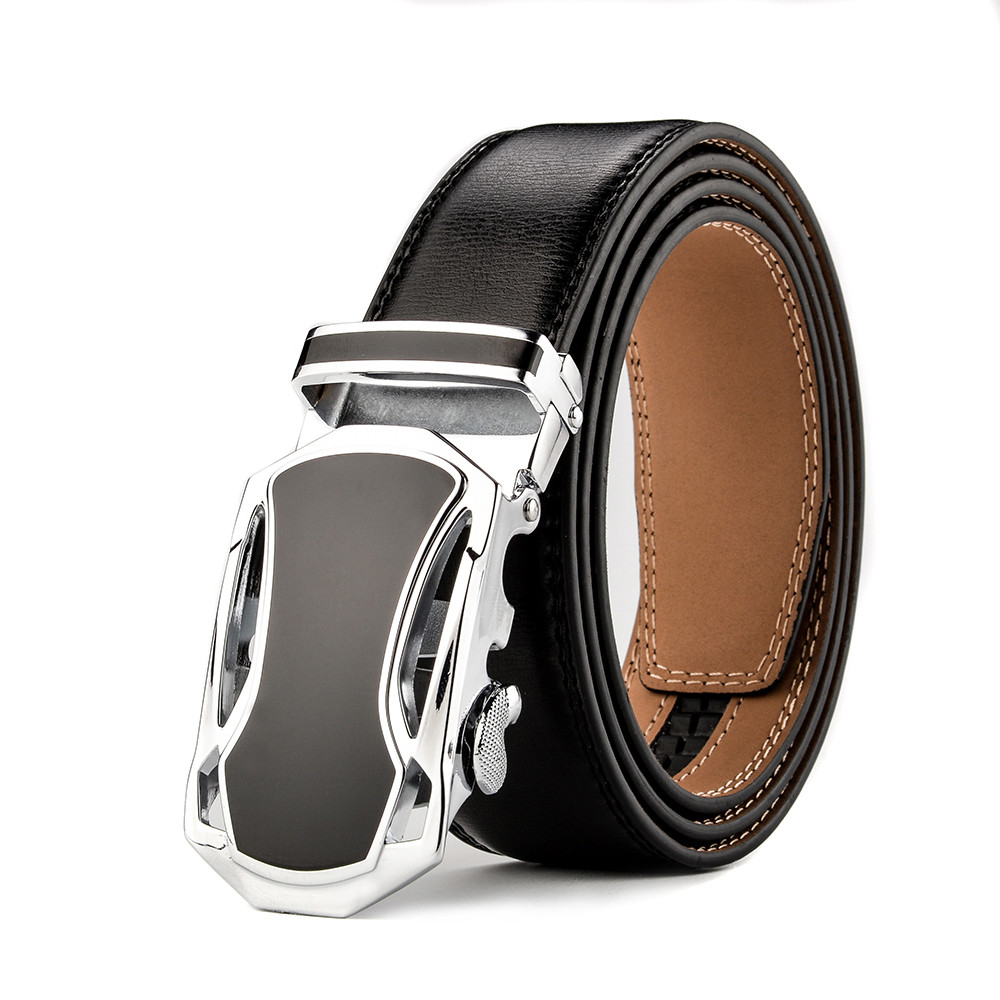Leopard Automatic Buckles Mens Belts Black Leather Waistband Father/'s Day Gift