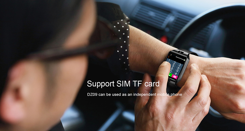 LEMFO DZ09 Smart Watch Support SIM TF Card Smartwatch Reminder for IOS Android- Multi-C