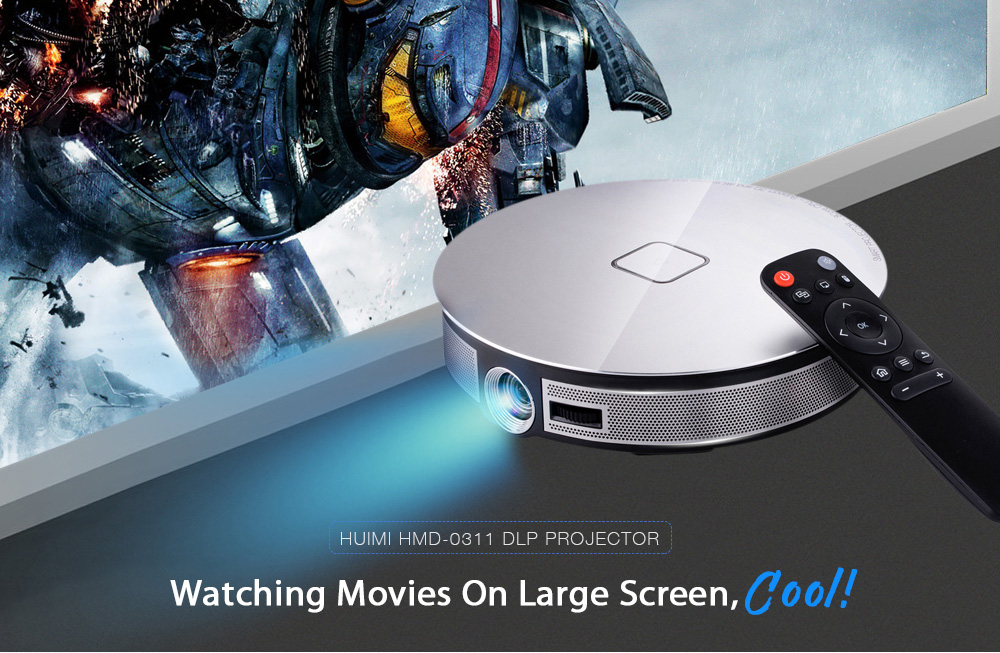 HUIMI HMD - 0311 DLP Mini 3D Home Theater Projector 1280 x 720P Android 6.0.1 2GB RAM + 16GB ROM BT4.0 Support 2.4G + 5G WiFi- Silver EU Plug