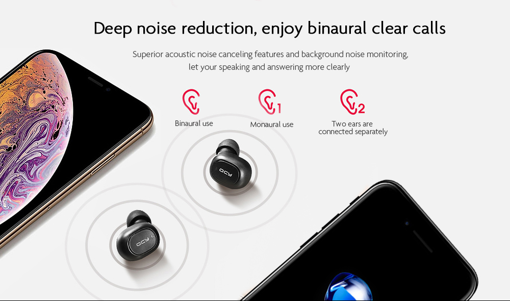 QCY T1C Mini Wireless Bluetooth 5.0 Music Earphones- Black