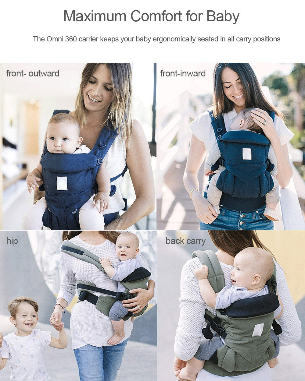 efc4a3f046f Omni 360 All-in-one Ergonomic Baby Carrier Sling for Newborn Toddler-  Platinum