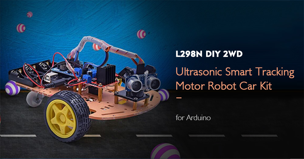 L298N Creative DIY 2WD Ultrasonic Smart Tracking Motor Robot Car Kit for Arduino- Multi